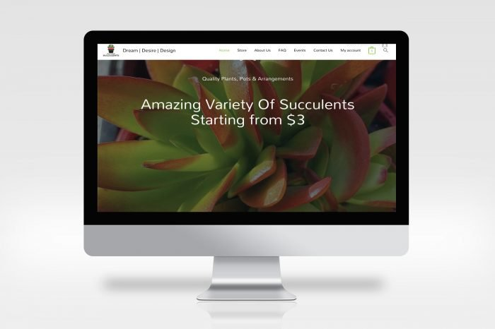 website mock-up of inspired succulents.com